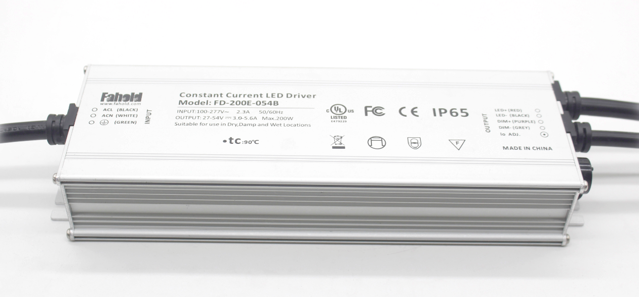 200W TUV CB CE UL FCC Certified LED Driver for LED Street Light and High Bay Lighting